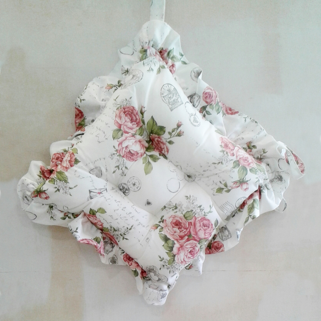 cuscini per sedie con volant shabby roses - casseri biancheria