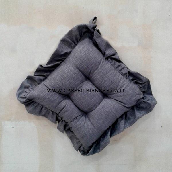 cuscini per sedie con volant edgar grigio - casseri biancheria