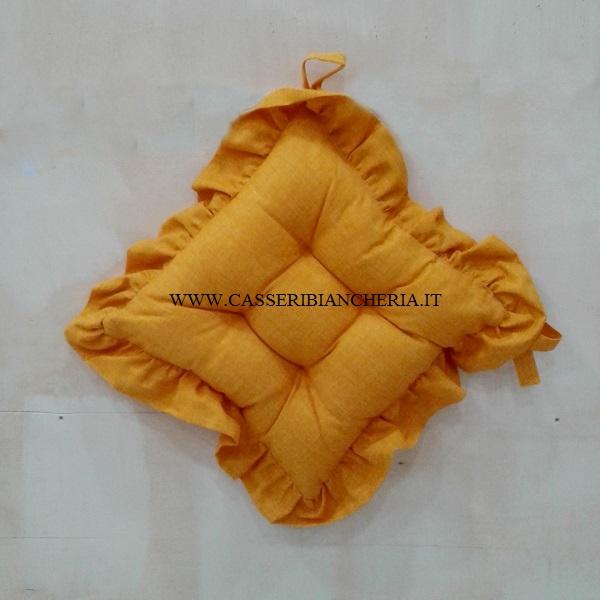 Cuscini per sedie con volant edgar giallo - CASSERI BIANCHERIA