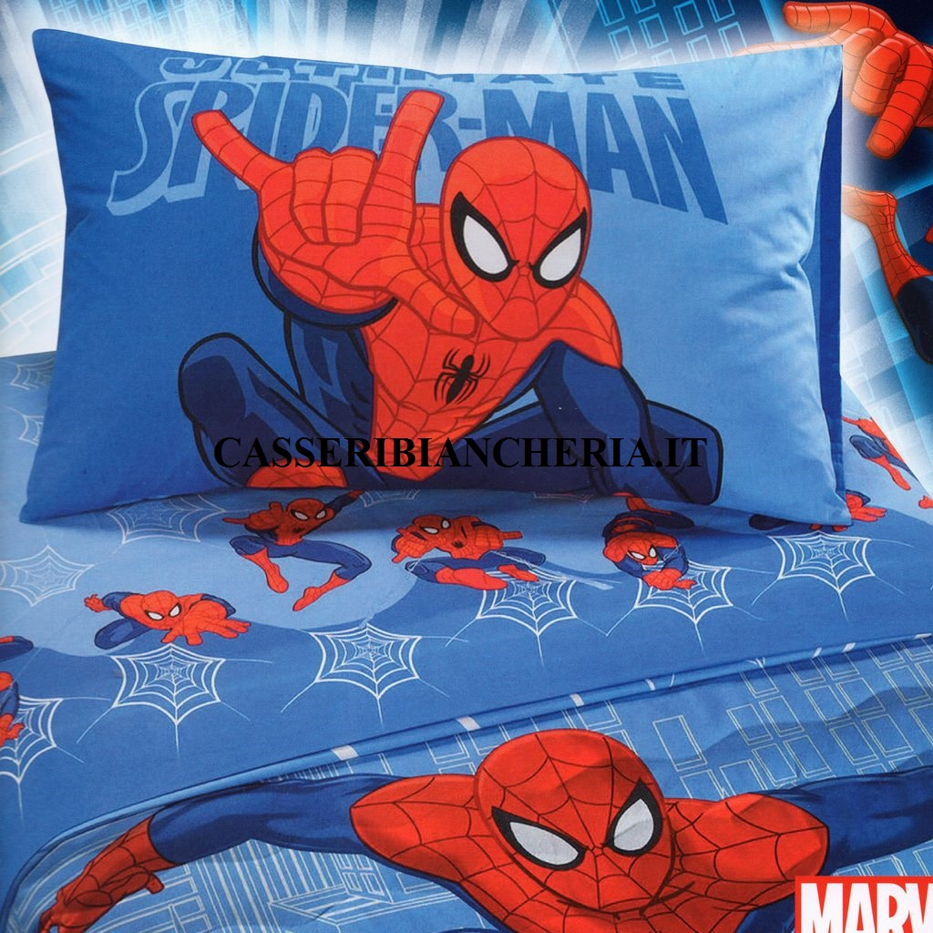 Completo lenzuola marvel caleffi spider man city per letto - Letto di spiderman ...