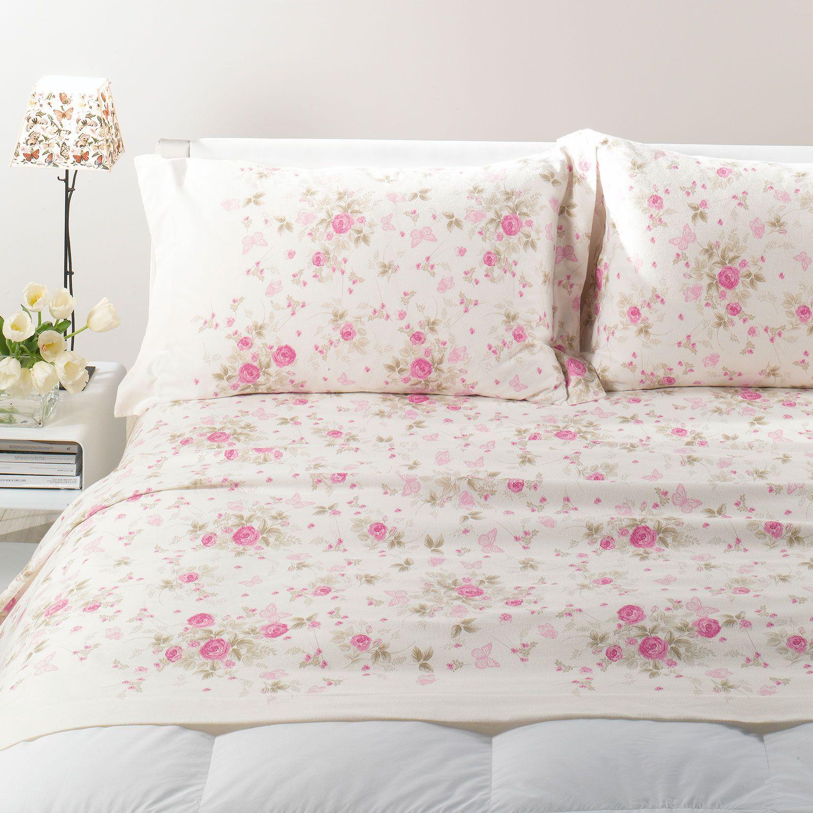 Lenzuolo flanella fiori matrimoniale caleffi casseri biancheria - Misure standard lenzuola letto matrimoniale ...