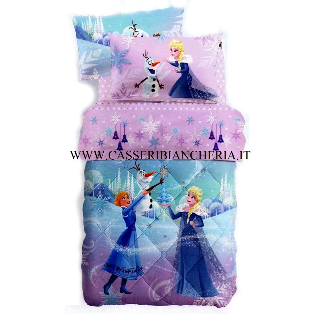 Piumone Principesse Disney Caleffi.Frozen Fiocco Di Neve Trapunta Singola Con Stampa Glitter Caleffi