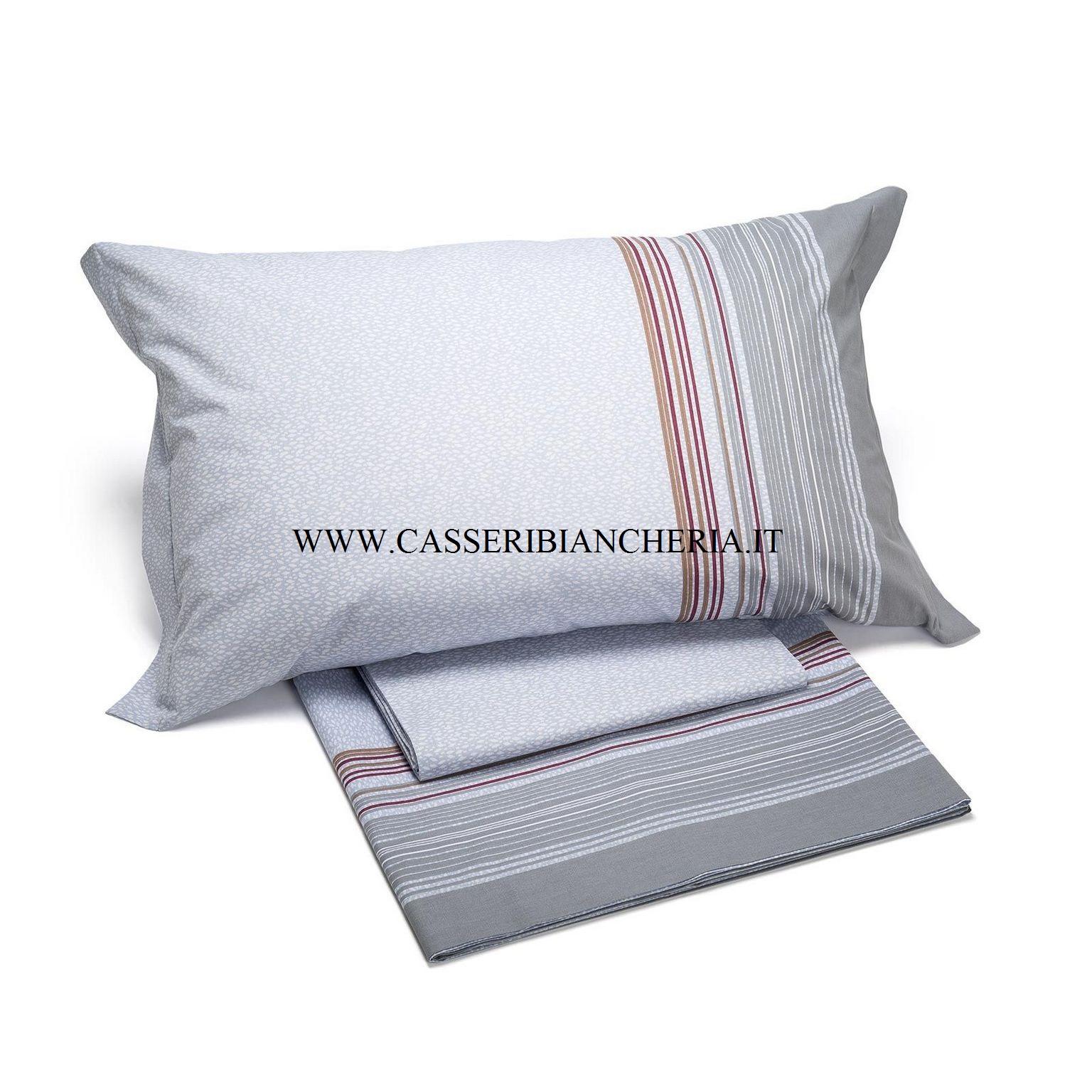 Caleffi completo lenzuola letto singolo 1 piazza atlantico colore grigio casseri biancheria - Misure lenzuola letto singolo ...