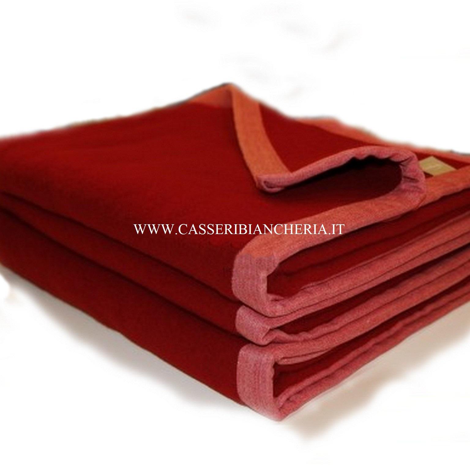 Coperte Di Lana Matrimoniali.Coperta Di Lana Matrimoniale Somma Origami Colore Beige Rosso Rubino