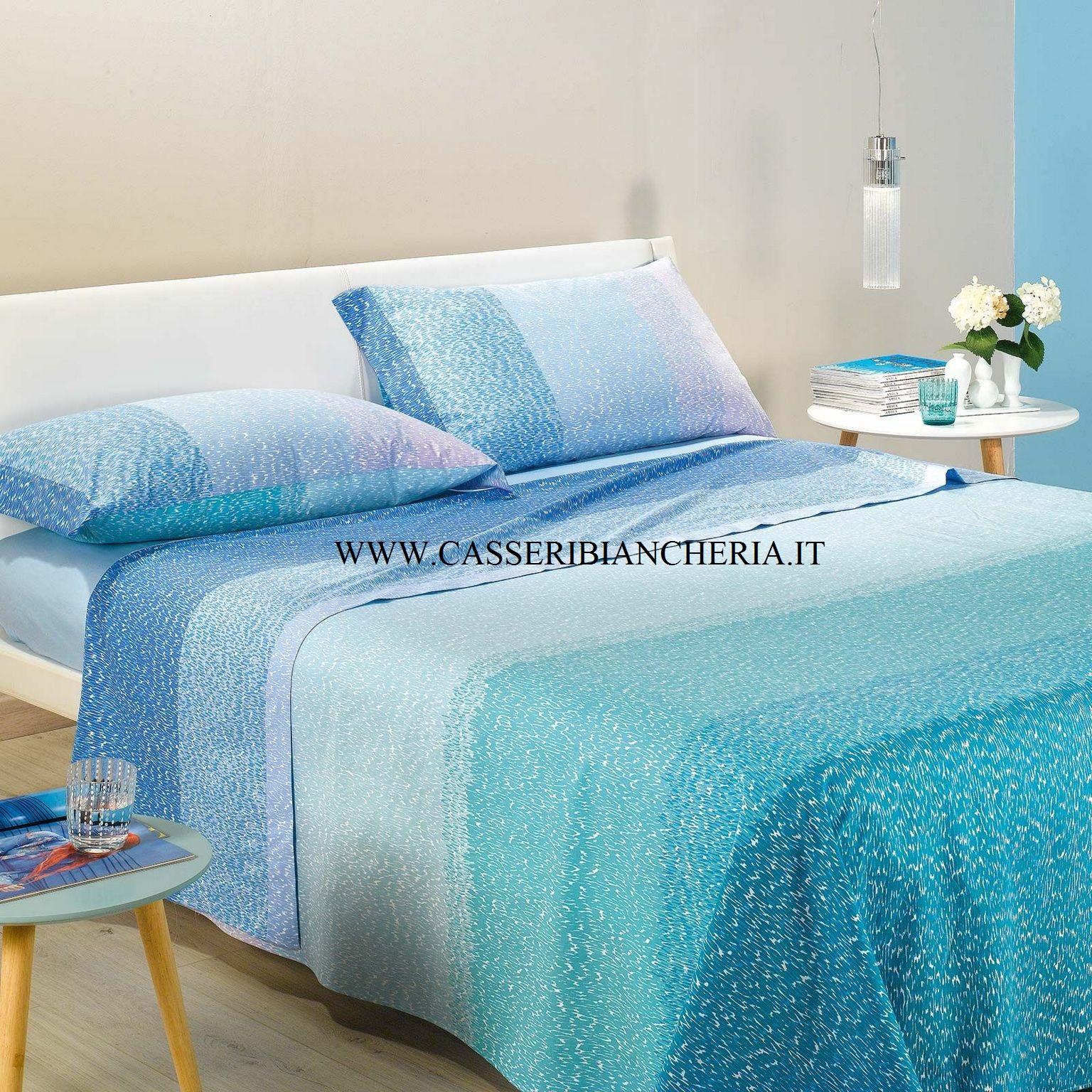 Completo lenzuola copriletto singolo caleffi multicolor bluette casseri biancheria - Completo lenzuola letto singolo ...